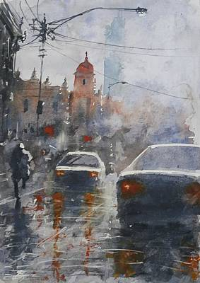 Watercolor Painting - Watercolor Cityscape 3 by Maroo Art