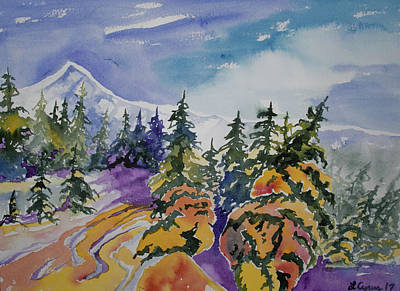 Painting - Watercolor - Colorado Winter Mountain Landscape Impression by Cascade Colors