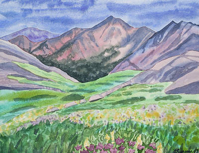 Painting - Watercolor - Colorful Mountain Landscape With Yale Peak by Cascade Colors