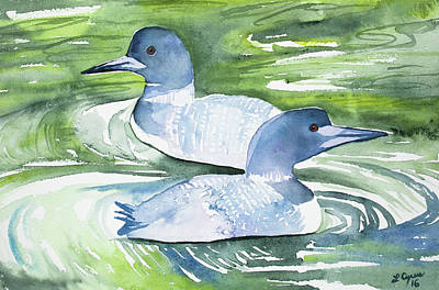 Painting - Watercolor - Common Loon Pair by Cascade Colors