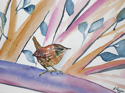 Painting - Watercolor - Contemplative Wren by Cascade Colors