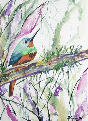 Painting - Watercolor - Coppery-chested Jacamar by Cascade Colors