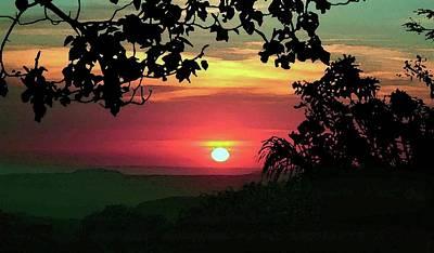 Digital Art - Watercolor Costa Rican Sunset by Ellen Barron O'Reilly