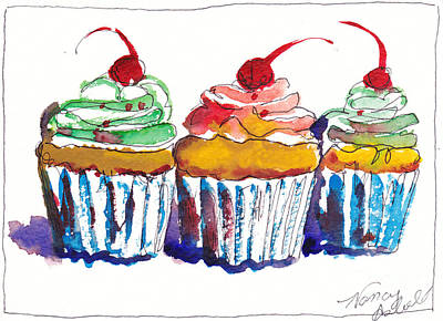 Watercolor Cupcake 11 Original by Michele Hollister - for Nancy Asbell