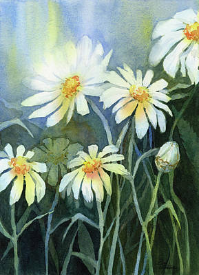 Daisy Wall Art - Painting - Daisies Flowers  by Olga Shvartsur