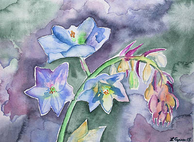 Painting - Watercolor - Death Camas Wildflower Impression by Cascade Colors