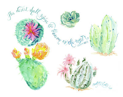 Prickly Pear Painting - Desert In Bloom 1, Watercolor Desert Cacti N Succulents Inspirational Verse by Audrey Jeanne Roberts