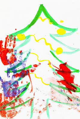 Abstract Photograph - Watercolor Drawing Of A Christmas Tree Including Handprints Of Children's Artists by Wolfgang Steiner