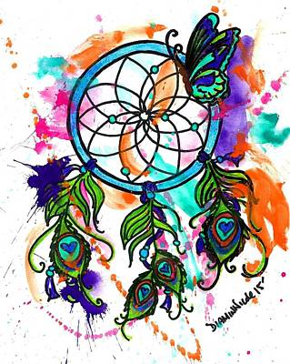 Mixed Media Painting - Watercolor Dream Catcher by Diamin Nicole