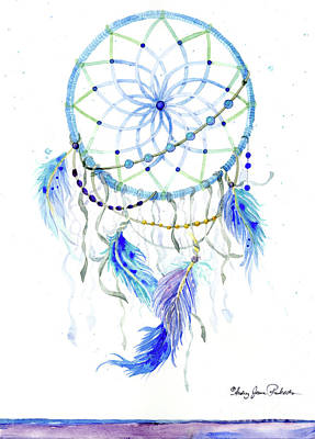 Painting - Watercolor Dream Catcher Lavender Blue Feathers 1 by Audrey Jeanne Roberts