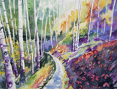 Painting - Watercolor - Early Autumn Forest by Cascade Colors
