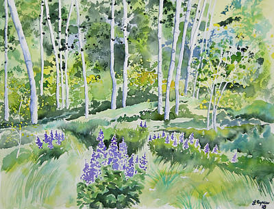 Painting - Watercolor - Early Summer Aspen And Lupine by Cascade Colors