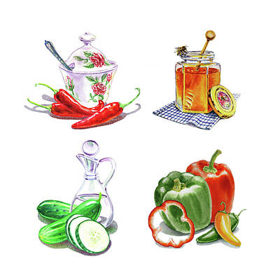 Painting - Watercolor Editorial Food Illustrations The Sweet The Hot The Sour by Irina Sztukowski