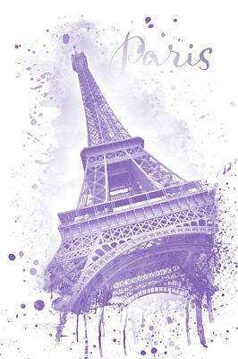 Digital Art - Watercolor Eiffel Tower - Purple by Melanie Viola