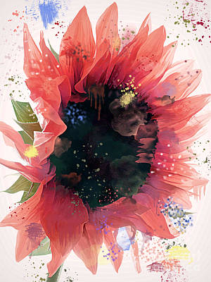 Photograph - Watercolor Fantasy Sunflower by Renee Trenholm