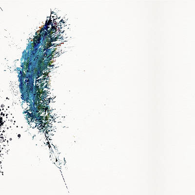 Painting - Watercolor Feather In Blue by Christina VanGinkel