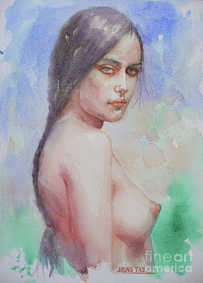Painting - Watercolor Female Nude Girl #16-12-7-01 by Hongtao Huang