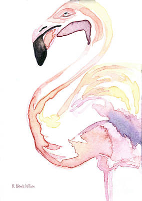 Fine Dining - Watercolor Flamingo I by D Renee Wilson