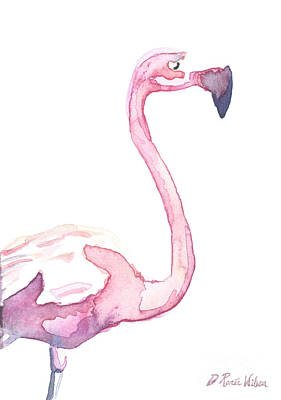 Painting - Watercolor Flamingo II by D Renee Wilson