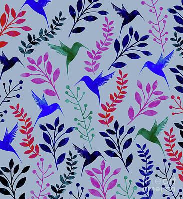 Animals Digital Art - Watercolor Floral Birds by Amir Faysal