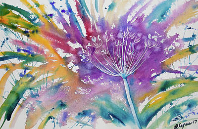 Painting - Watercolor - Flower Going To Seed by Cascade Colors