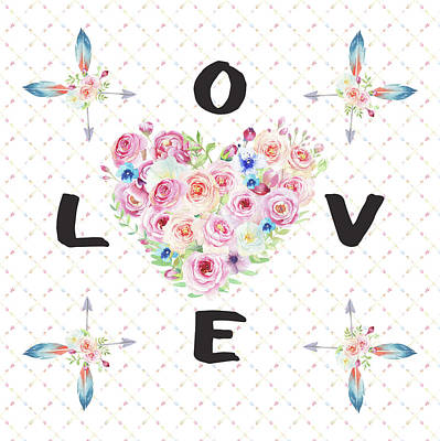 Art Print featuring the painting Watercolor Flowers Arrows Love Typography by Georgeta Blanaru