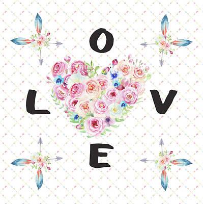 Painting - Watercolor Flowers Arrows Love Typography by Georgeta Blanaru