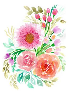 Watercolor Flowers Art Print by My Art