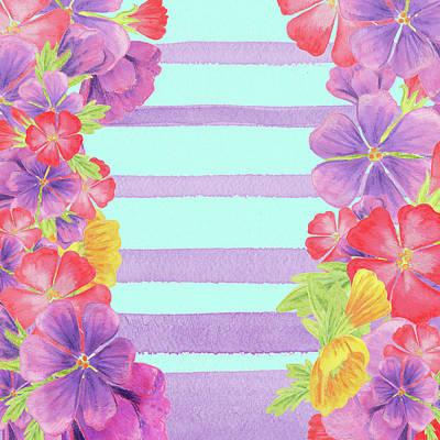 Royalty-Free and Rights-Managed Images - Watercolor Flowers Purple Stripes For Baby Room Decor by Irina Sztukowski
