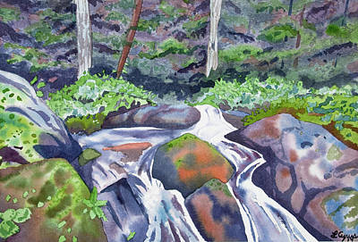 Painting - Watercolor - Forest And Mountain Stream by Cascade Colors