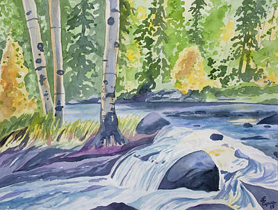 Painting - Watercolor - Forest And Stream Landscape by Cascade Colors