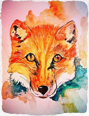 Antique Maps - Watercolor Fox by Modern Art