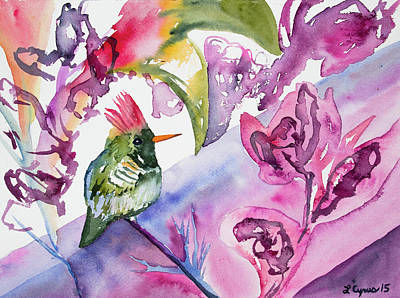Painting - Watercolor - Frilled Coquette Hummingbird With Colorful Background by Cascade Colors