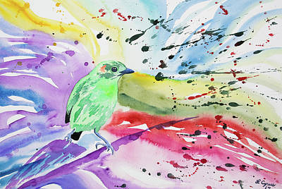 Painting - Watercolor - Glistening Green Tanager With Colorful Background by Cascade Colors
