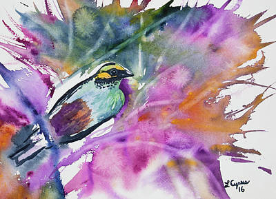 Painting - Watercolor - Golden-eared Tanager  by Cascade Colors