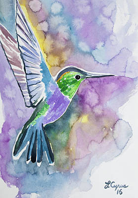 Painting - Watercolor - Green-crowned Wood Nymph by Cascade Colors