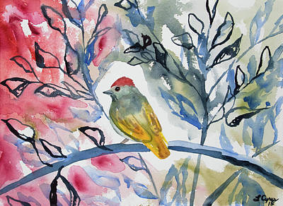 Firefighter Patents - Watercolor - Green-tailed Towhee Impression by Cascade Colors