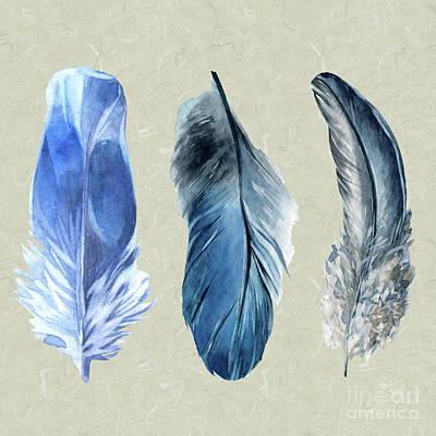 Painting - Watercolor Hand Painted Feathers by Heinz G Mielke