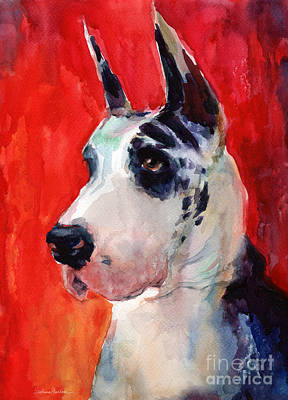 Watercolor Pet Portraits Painting - Watercolor Harlequin Great Dane Dog Portrait 2  by Svetlana Novikova