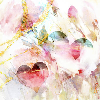 Anahi Decanio Licensing Art Mixed Media - Watercolor Hearts Abstract by WALL ART and HOME DECOR