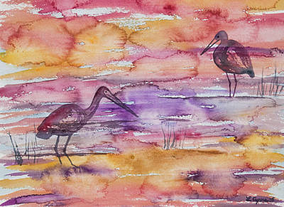 Painting - Watercolor - Heron And Limpkin In The Amazon by Cascade Colors