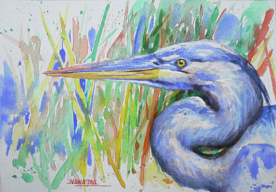 Painting - Watercolor Heron Bird #1745 by Hongtao Huang
