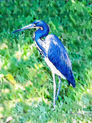 Photograph - Watercolor Heron In Grass by Susan Molnar