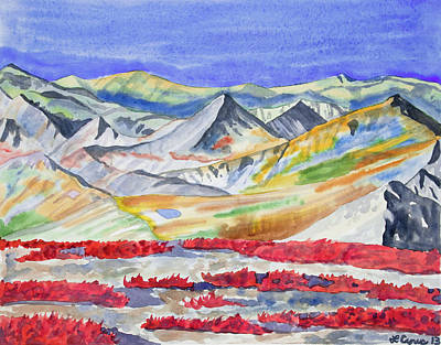 Painting - Watercolor - High Alpine Autumn Landscape by Cascade Colors