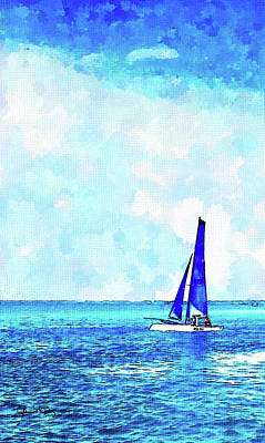 Photograph - Watercolor Hobie Cat 2 by Susan Molnar