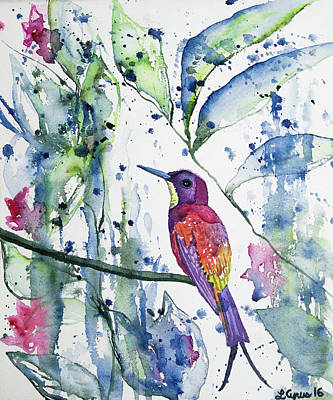 Painting - Watercolor - Hummingbird In A Rain Shower by Cascade Colors