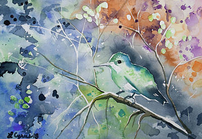 Painting - Watercolor - Hummingbird With Impressionistic Background by Cascade Colors