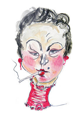Woman Mixed Media - The Smoker by Marian Voicu