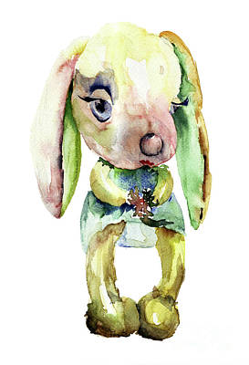 Watercolor Illustration Of Rabbit Art Print