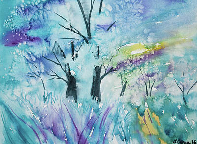 Painting - Watercolor - Impression Of A Wintry Grove Of Trees by Cascade Colors